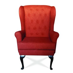 The chair is often placed as a hearth chair, this Cecelia high seat uses plush fabrics and foam construction. meeting UK furniture Crib 5 fire regulations, promising more fire safety over standard living room chairs