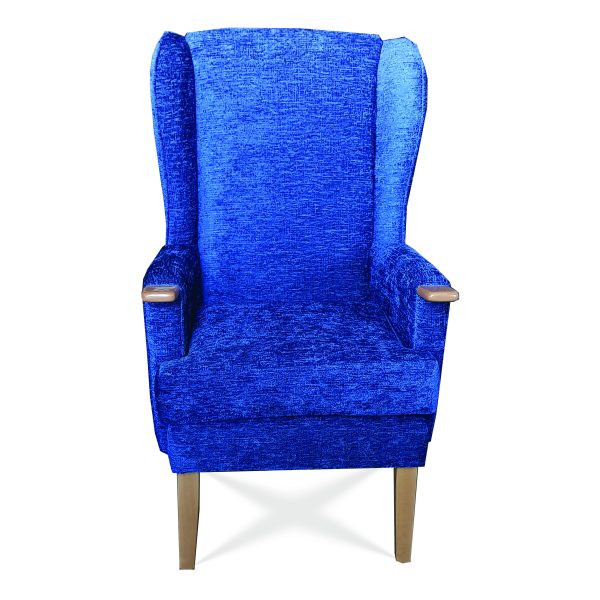 Elena High back Chair part of our Customised Care Home Furniture Range with wooden arm extensions for ease of getting in and out of the Care chair