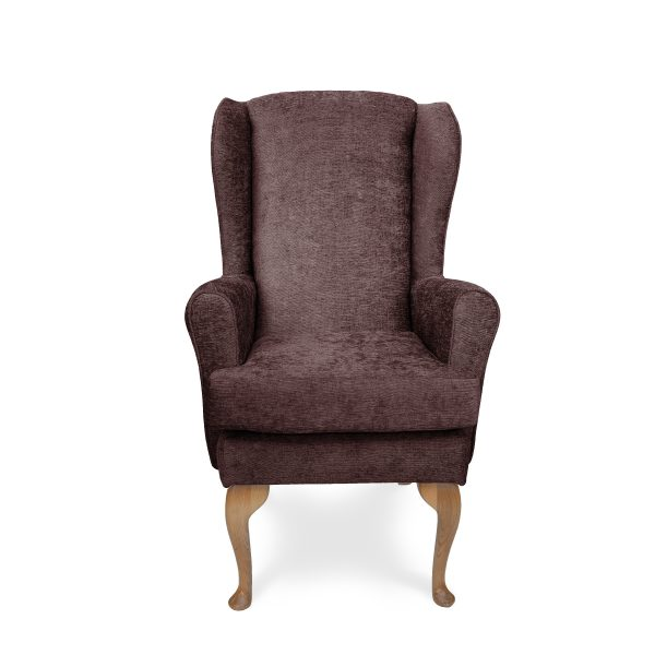 The chair is often placed as a hearth chair, this Allison high seat uses plush fabrics and foam construction. meeting UK furniture Crib 5 fire regulations, promising more fire safety over standard living room chairs
